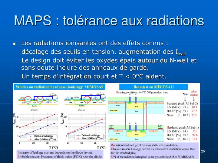 MAPS : tolérance aux radiations