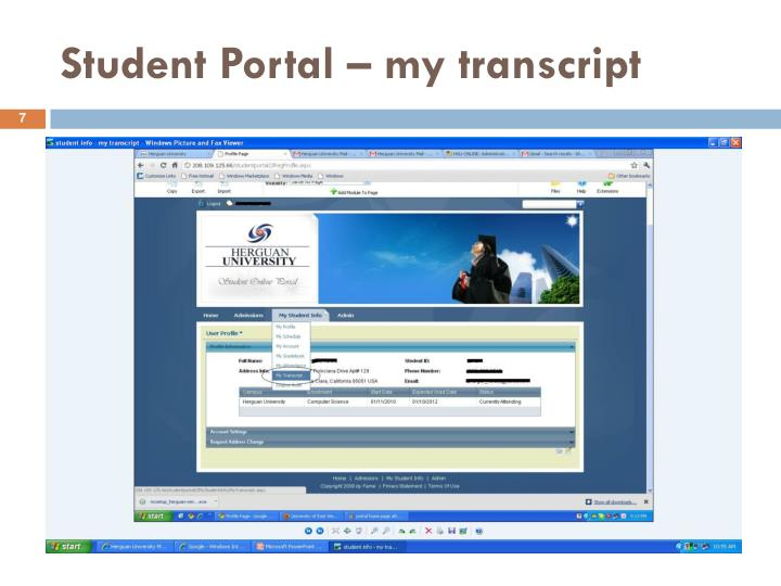 Student Portal – my transcript