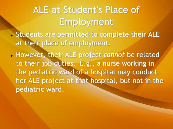 ALE at Student's Place of Employment
