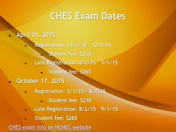 CHES Exam Dates