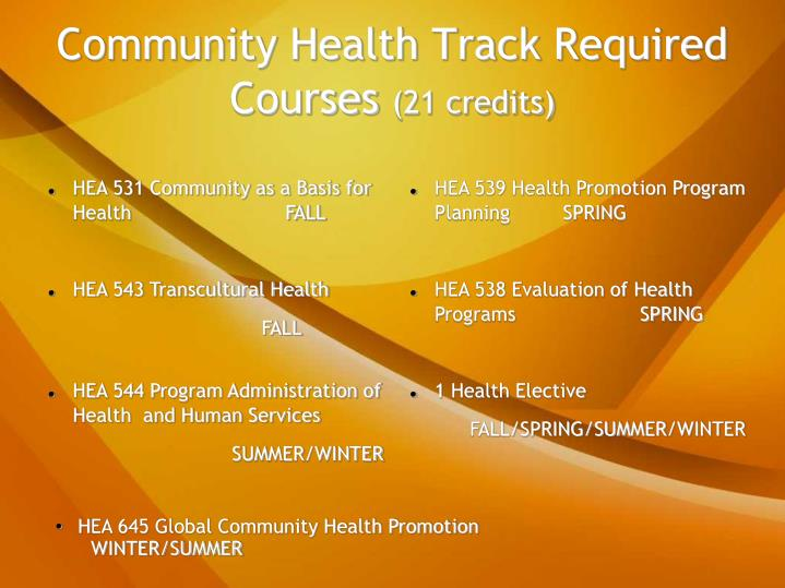 Community Health Track Required Courses