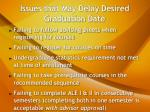 issues that may delay desired graduation date