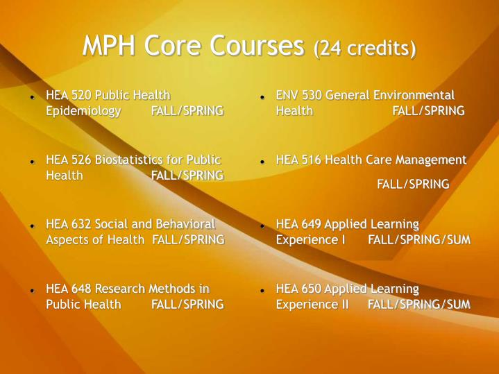 Mph core courses 24 credits
