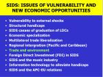 sids issues of vulnerability and new economic opportunities