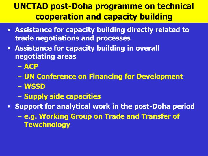 UNCTAD post-Doha programme on technical cooperation and capacity building