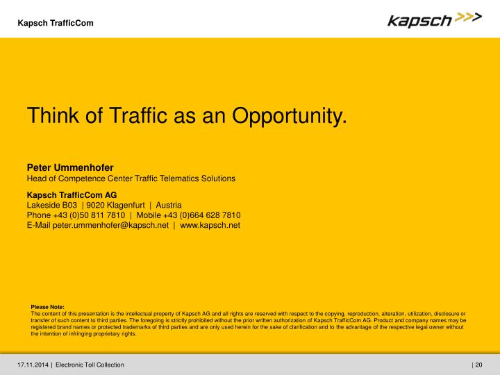 Think of Traffic as an Opportunity