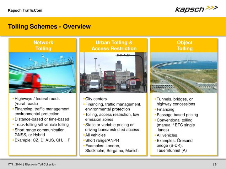Tolling Schemes - Overview
