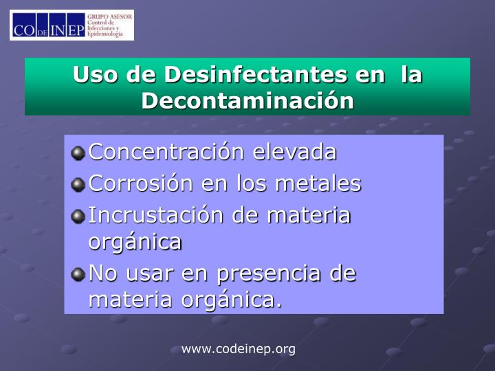 Uso de Desinfectantes en  la Decontaminación