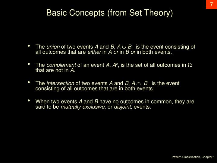 Basic Concepts (from Set Theory)