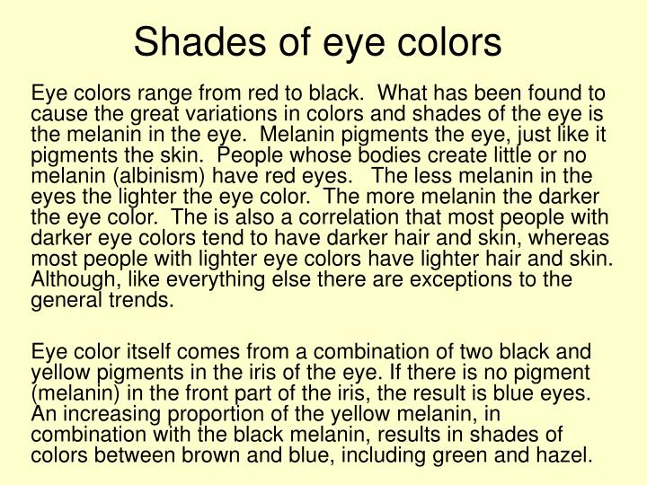 Shades of eye colors