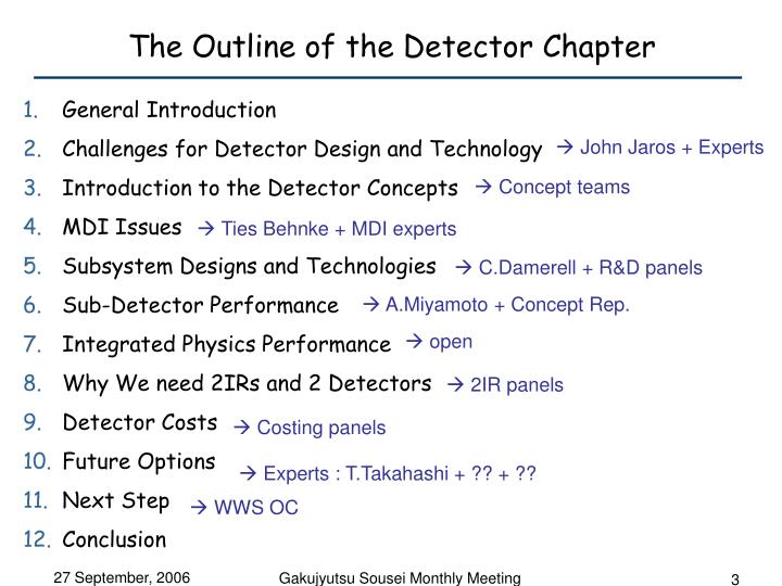 The outline of the detector chapter