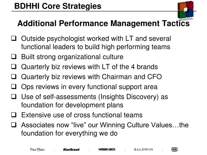 BDHHI Core Strategies