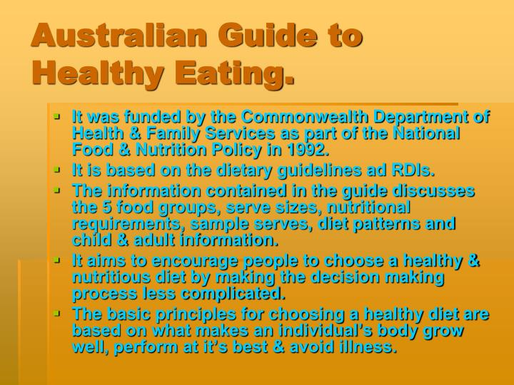 Australian Guide to Healthy Eating.