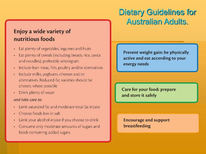 Dietary Guidelines for Australian Adults.