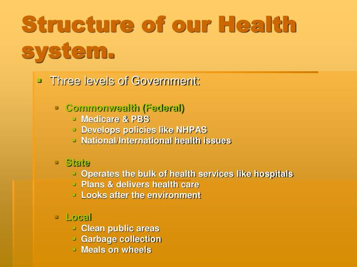 Structure of our Health system.
