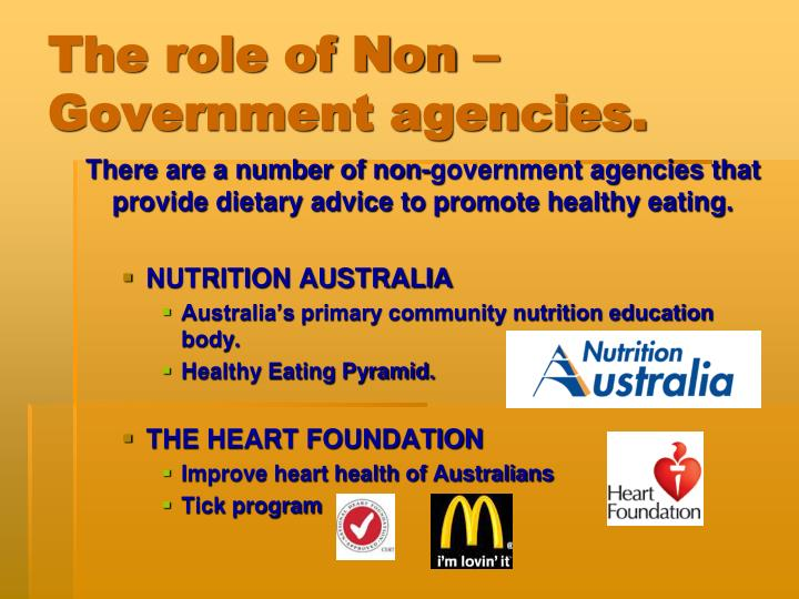 The role of Non –Government agencies.