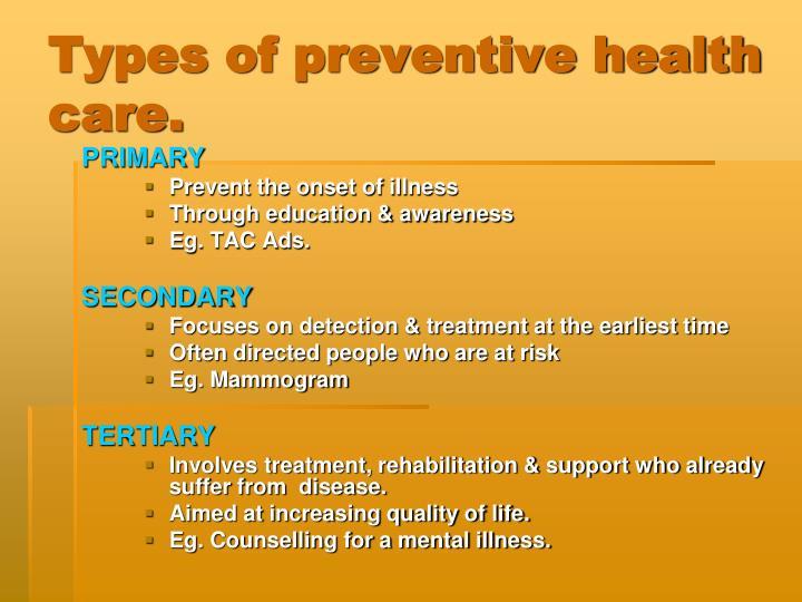 Types of preventive health care.