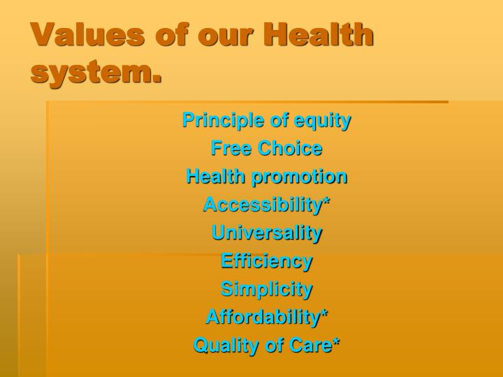 Values of our Health system.