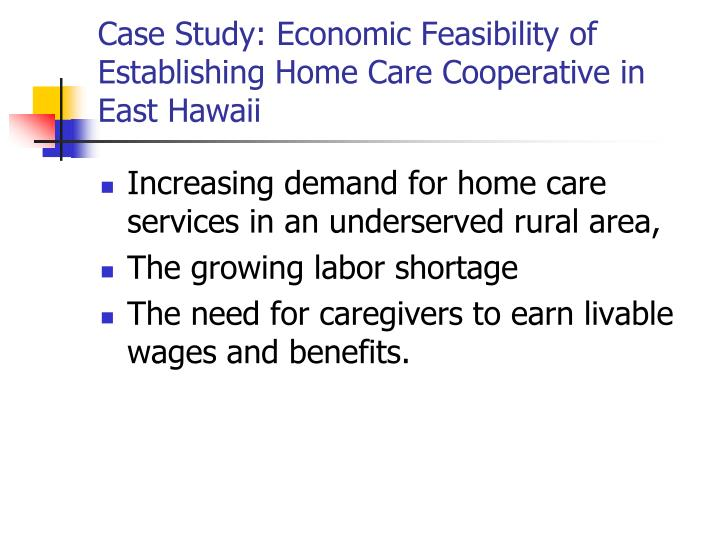 Case Study: Economic Feasibility of Establishing Home Care Cooperative in East Hawaii