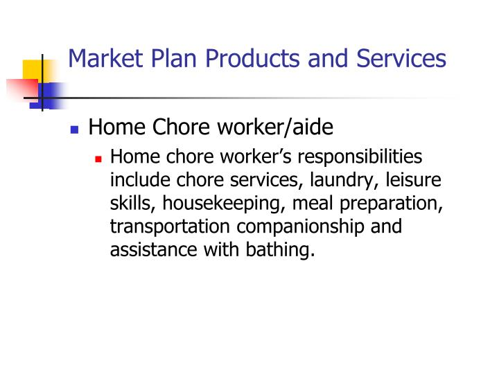 Market Plan Products and Services