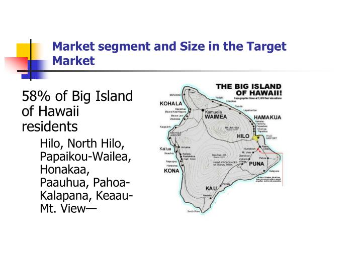 Market segment and Size in the Target Market