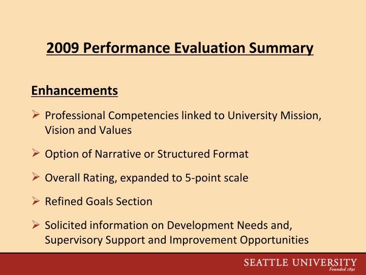 2009 Performance Evaluation Summary