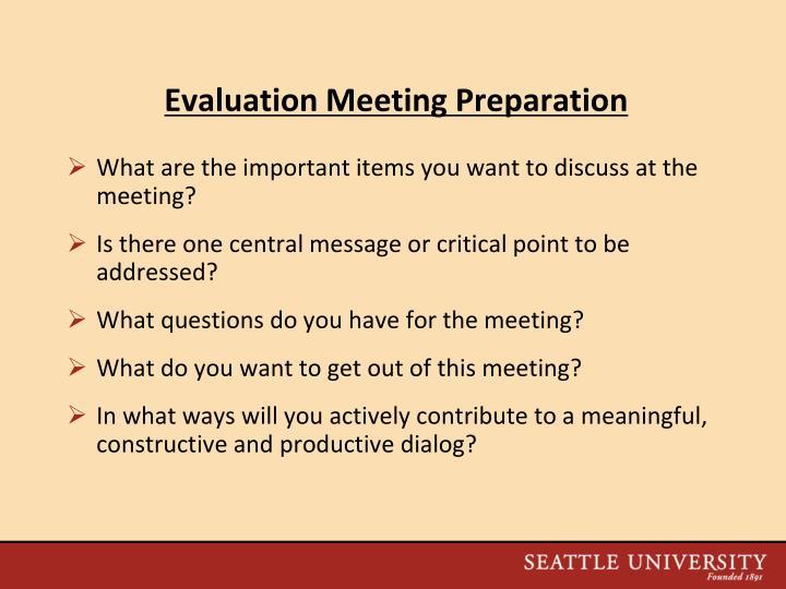 Evaluation Meeting Preparation