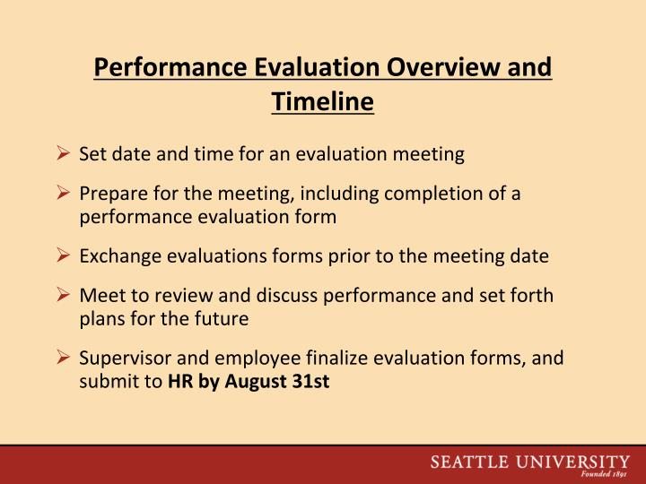 Performance Evaluation Overview and Timeline