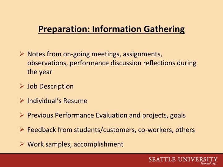 Preparation: Information Gathering