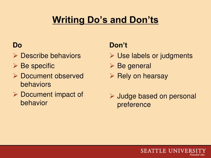 Writing Do's and Don'ts