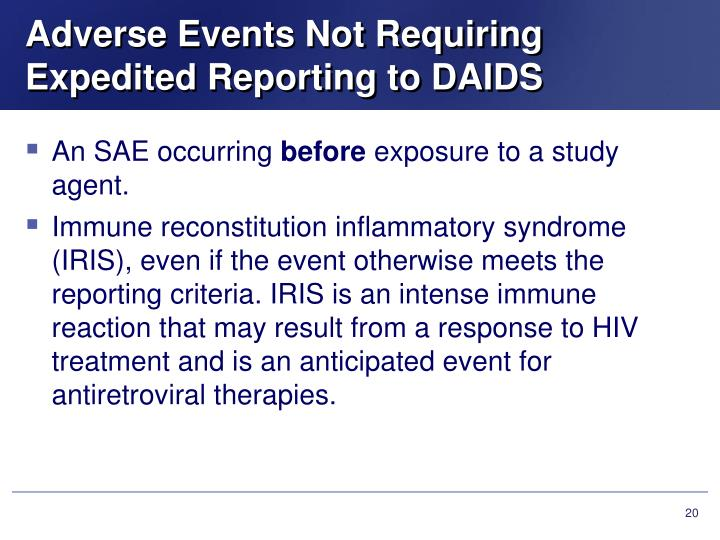 Adverse Events Not Requiring Expedited Reporting to DAIDS