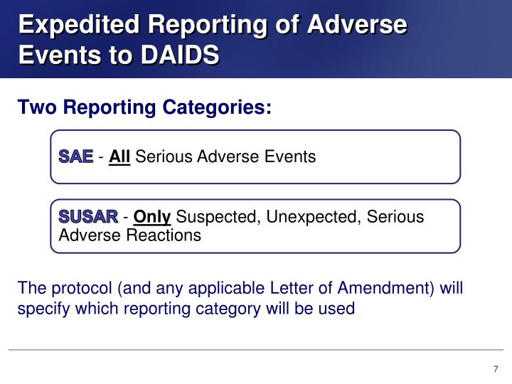 Expedited Reporting of Adverse Events to DAIDS