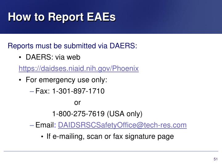 How to Report EAEs