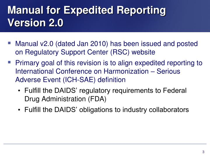 Manual for expedited reporting version 2 0