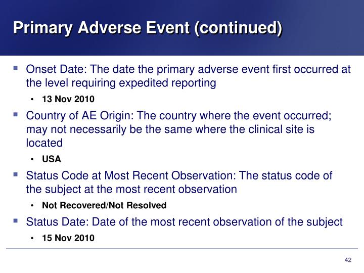 Primary Adverse Event (continued)