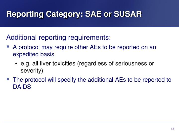 Reporting Category: SAE or SUSAR