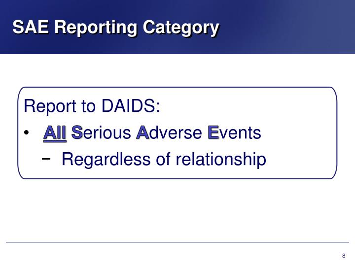 SAE Reporting Category