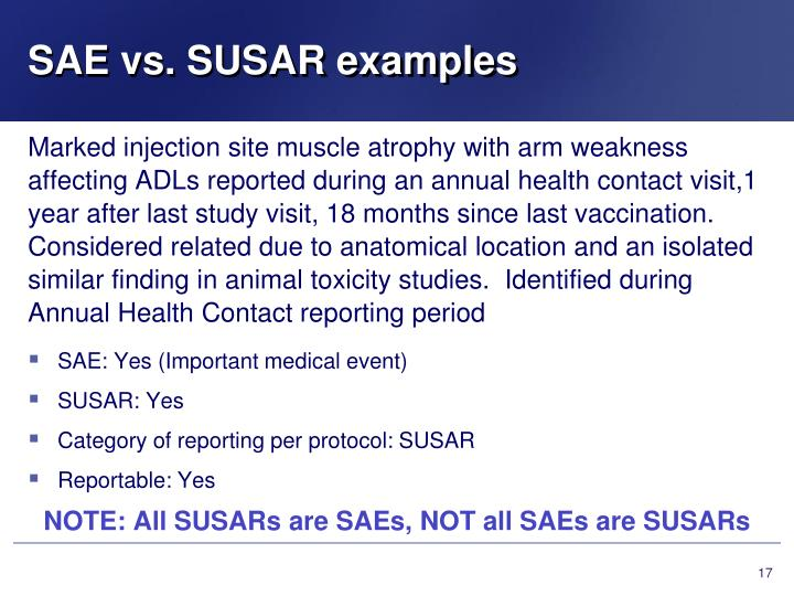 SAE vs. SUSAR examples