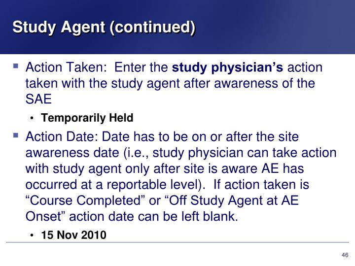 Study Agent (continued)
