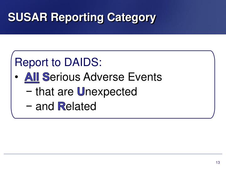 SUSAR Reporting Category