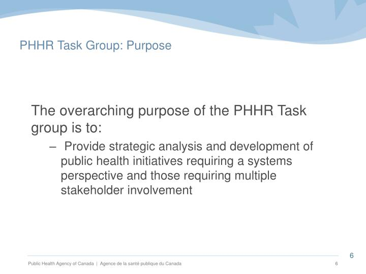 PHHR Task Group: Purpose
