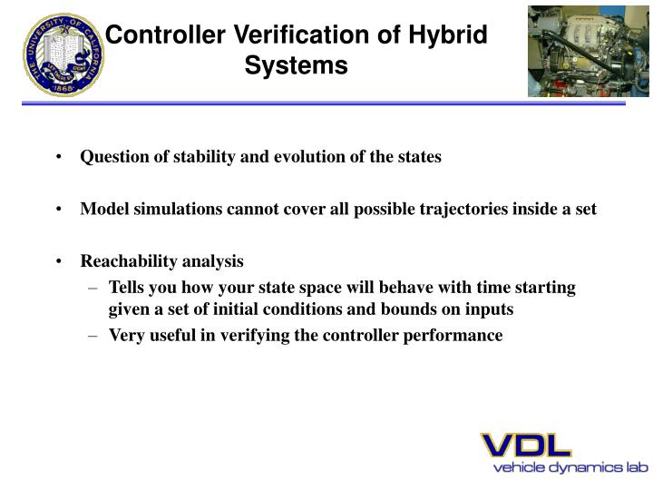 Controller Verification of Hybrid Systems