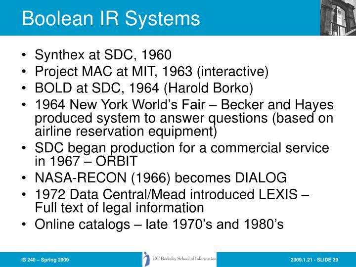 Boolean IR Systems