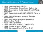 historical milestones in ir research cont