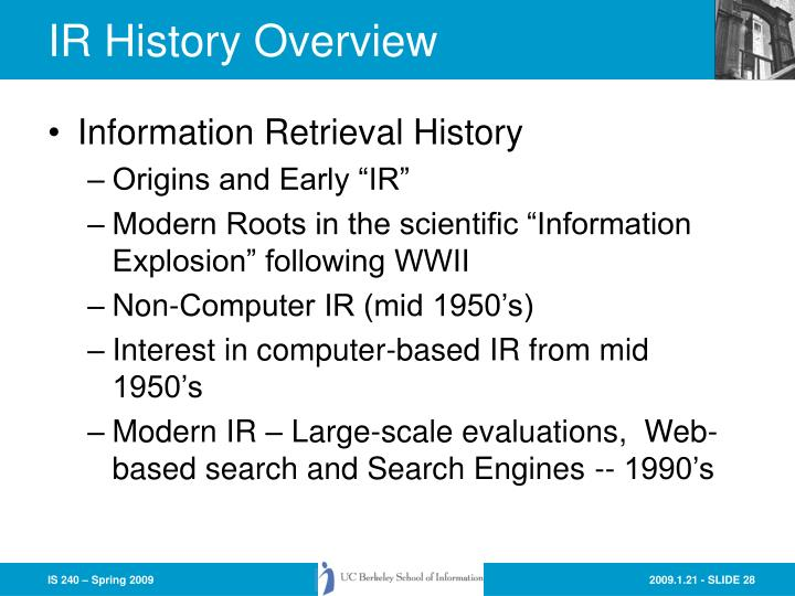 IR History Overview