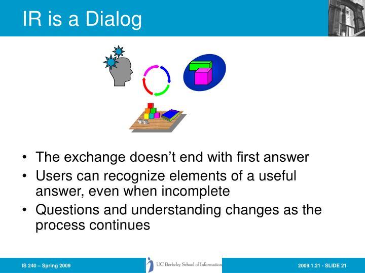 IR is a Dialog