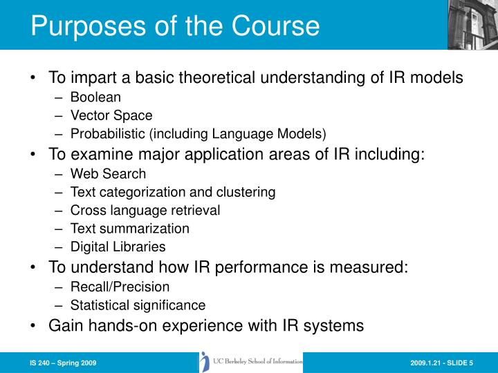 Purposes of the Course