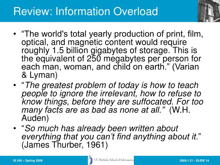 Review: Information Overload
