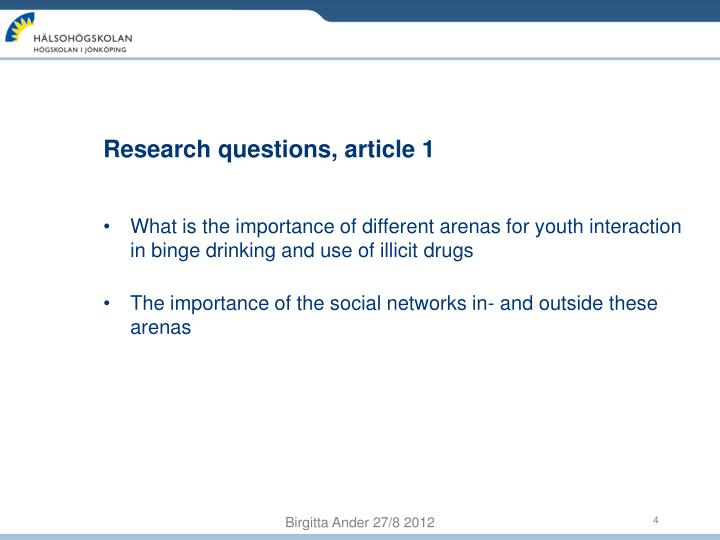 Research questions, article 1
