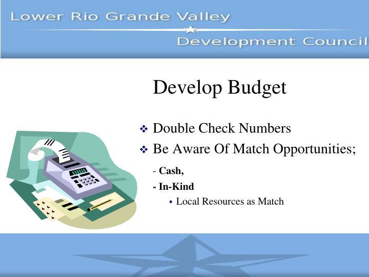 Develop Budget